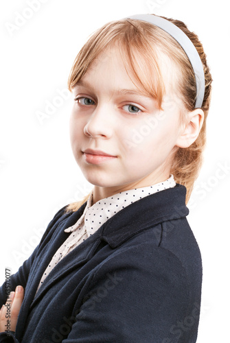 Closeup portrait of blond Caucasian schoolgirl  isolated on whit