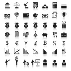 finance icons black on white with reflect