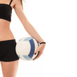Young sporty woman detail with volleyball ball, isolated against