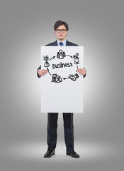 Businessman holding a business plan poster