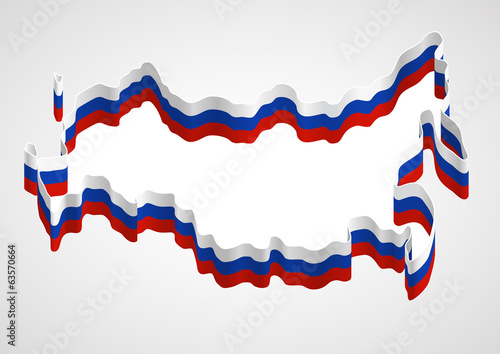 Russia, stylized map and flag