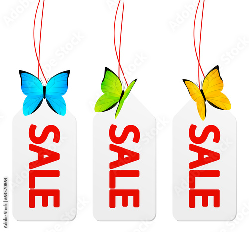 Sale paper tags with butterflies