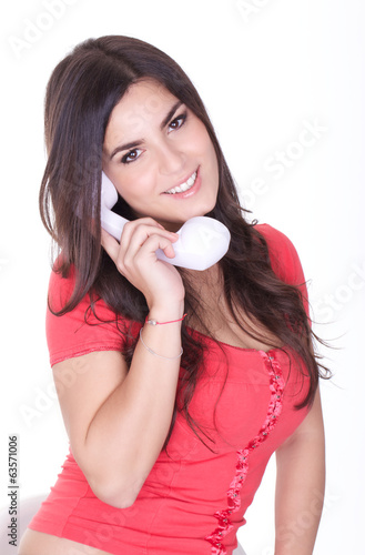 beauty girl talking to telephone