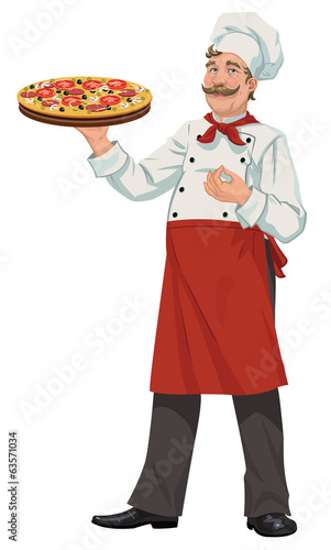 Chef with Fresh Pizza - Illustration