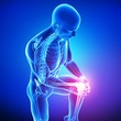 Anatomy of male knee pain in blue
