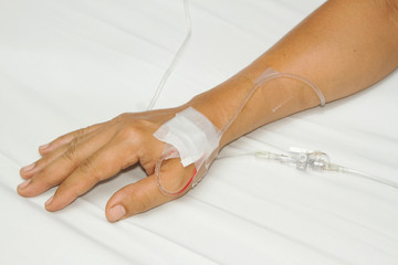 IV solution in a patients hand,saline drip
