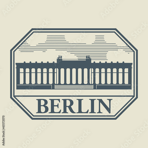 Stamp or label with word Berlin inside, vector