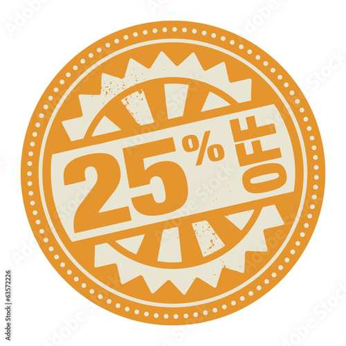 Abstract stamp or label with the text 25 percent off written ins