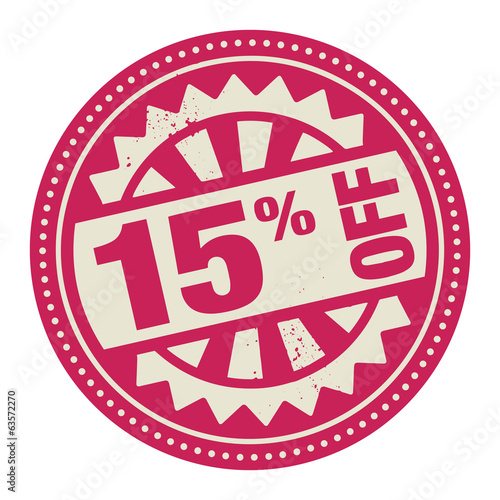 Abstract stamp or label with the text 15 percent off written ins