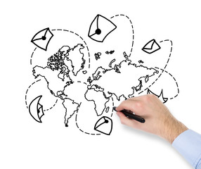 Hand drawing a sketch of the world delivery map