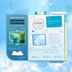 Web site scrapbook design. Ecology background