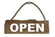 Isoliertes Holzbrett mit Seil zum Aufhängen: Open
