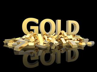Gold on black background