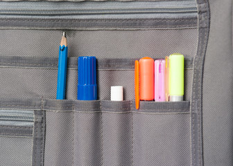 Wooden pencil and fabric pocket
