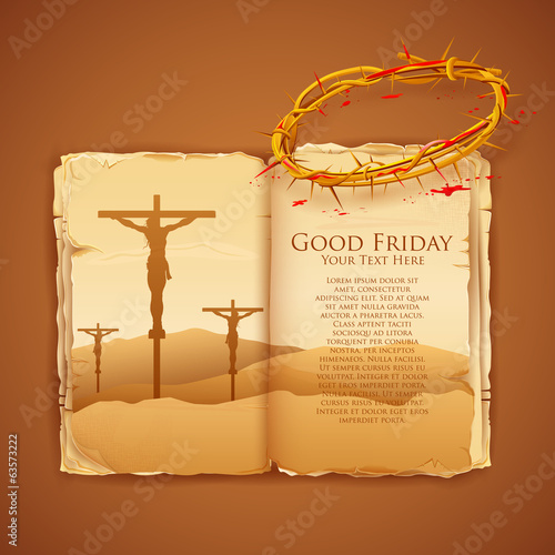 Jesus Christ on cross on Good Friday Bible