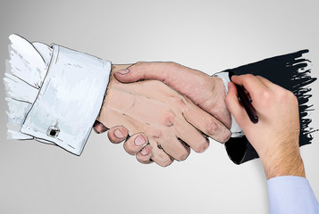 A hand drawing a handshake