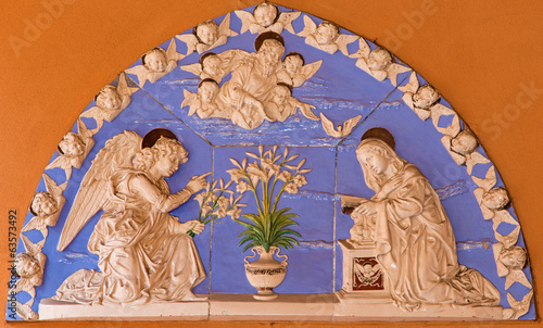 Bologna - Ceramic relief of Annunciation scene