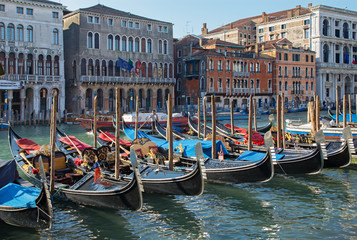 Venice - Canal Grande and the dock of gondolas