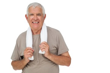 Portrait of a senior man with towel
