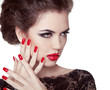 Nails closeup. Manicure and Makeup. Retro woman with red lips. M