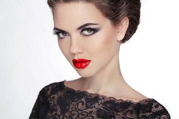 Woman. Makeup. Stare. Vintage Style Mysterious Lady. Retro femal