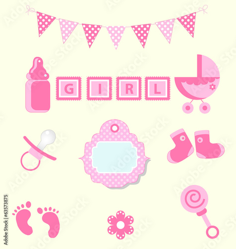 Baby girl set of design element for scrapbook