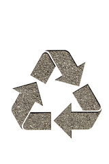 recycle symbol on asphalt