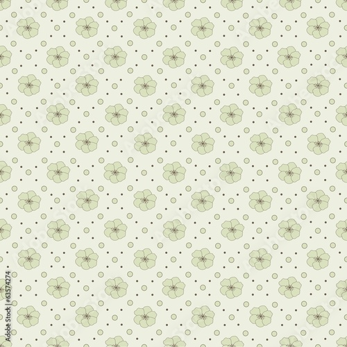 Abstract seamless pattern with dots and flowers