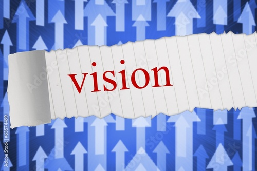Vision against futuristic arrow pointing upwards