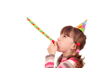 little girl with birthday hat and trumpet on white
