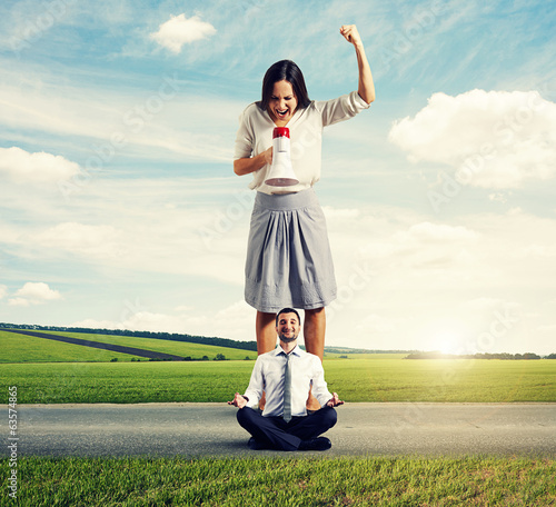 angry woman and calm yoga man