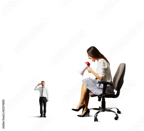 angry woman shouting at stressed man