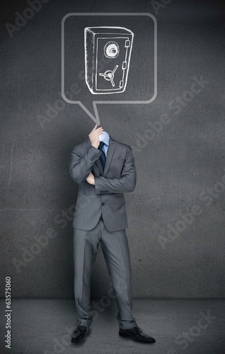 Headless businessman with safe in speech bubble