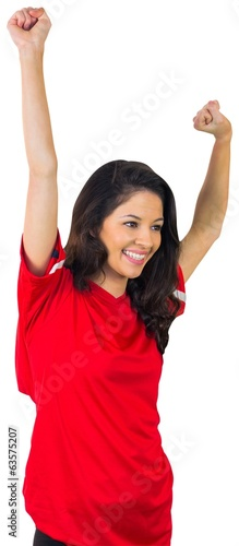 Cheering football fan in red