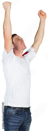 Cheering football fan in white