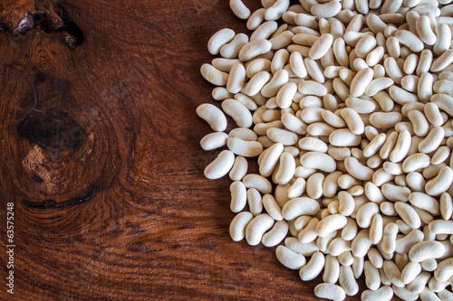 close up bean white seed on wood table