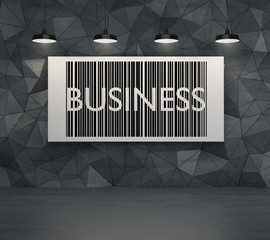 The word 'business' on the board.
