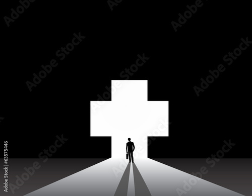 Businessman silhouette standing front of medical plus shape door