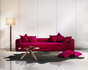 Elegant contemporary fresh interior with red sofa