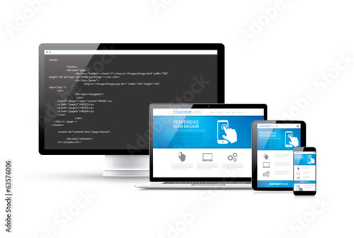 Coding websites to modern responsive electronic devices concept