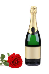 Champagne bottle and red rose.