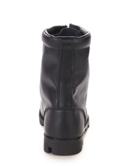 Black leather high boot.