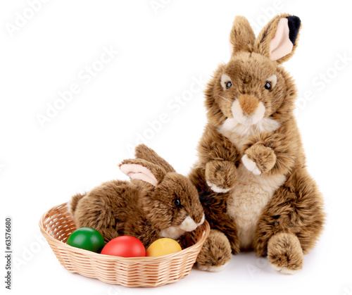 Sugar rabbit and easter eggs.