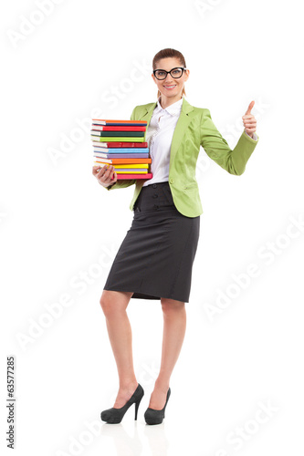 Happy librarian showing thumb up.