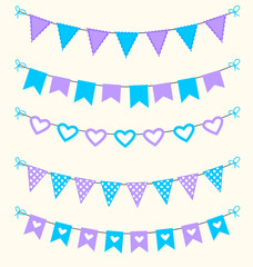 Bunting set patel blue and purple scrapbook  flags