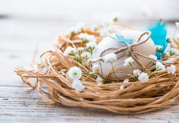Easter egg in nest, rustic .Easter card,background.