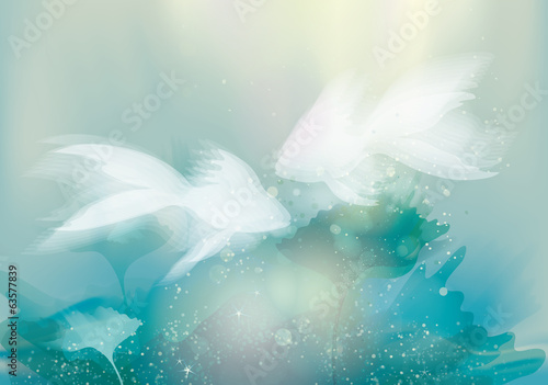 Two white Fishes / Underwater fairy background