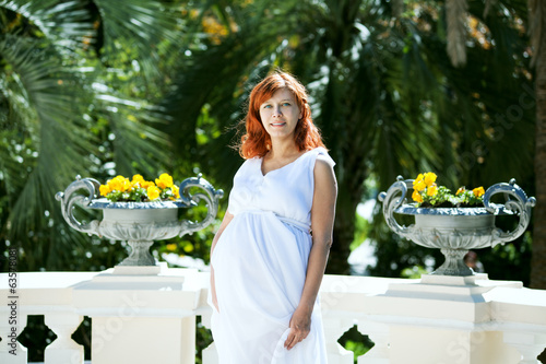 Pregnant woman white dress
