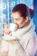 Sweet woman drink coffee