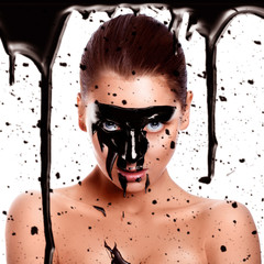 Square photo of sexy woman with paint on face